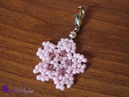 Beaded Sakura Charm by Sarinilli