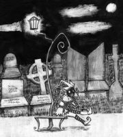 Harlequin at the cemetery by Noxious-Samara