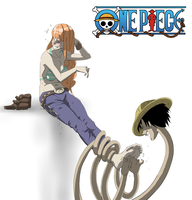 Luffy Tickles Nami by PawFeather