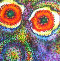 Purple Face in Pointillism - Watercolor by rebeccamichellelee