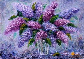 Flowers Oil painting - Bouquet fresh flowers lilac by wwwrybakowcom