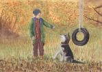 Boy with Dog Water Colour by littletalifox