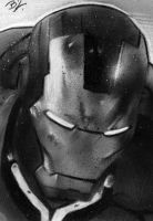 Iron Man black and white PSC by Ethrendil