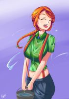 Leah in a water fights (Stardew valley) by ReptilianDraw