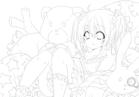 miku bed time -lineart- by sonnyaws