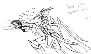 Draconian with gauntlet weapon by Snowfyre