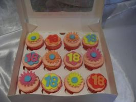 18th birthday cupcakes by starry-design-studio