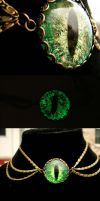 3 tier Green Glow on the Dark Steampunk Bronze by LadyPirotessa