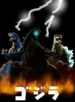 3 great godzilla's by Ucaliptic