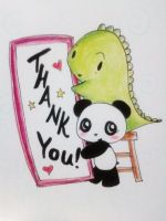 Dino and Panda Thank You 001 by MelodicInterval