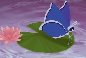 Butterfly On A Water Lily by Enzoda