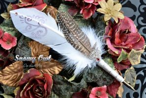 """Snowy Owl"" Dip Quill Pen by Ashalind"