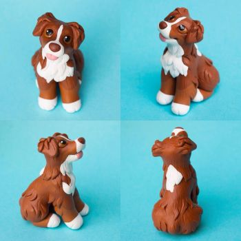 Red tri Aussie sculpture by SculptedPups