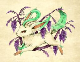 Seasons of Eevee - Leafeon and Wisterias by juugatsuhoshi