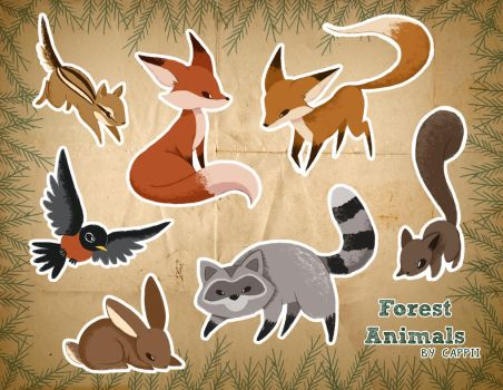 Forest Animal Stickers by MissPiika
