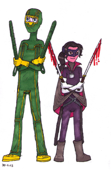 Kick-Ass and Hit-Girl - coloured by Nicksplosivez