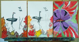 Three painting styles (schoolwork) by Wolverica