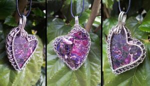 Purple Turquoise and Pyrite Caged Heart by xx-trigrhappy-xx