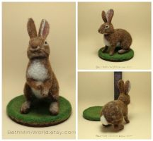 Needle felted rabbit cottontail miniature by BethMiniWorld
