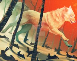 Blind wolf going the wrong way, rabbits surviving by TrollcreaK