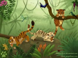 Tiger cubs in jungle by ClaireLyxa