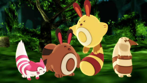 MMD PK Sentret and Furret DL by 2234083174