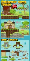 Platformer Game Tile Set 14 by pzUH