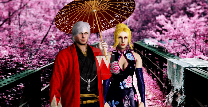 Dante And Trish In Japan by WhiteKnightDante