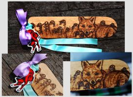 Pyrography - Fox in bluebells bookmark by BumbleBeeFairy