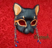 Lapis Scarab Bast leather mask by merimask