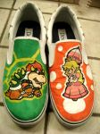Mario - Peach and Bowser shoes by zlistrockstar