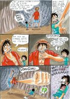 one piece, in a cave.  1 part by heivais