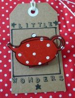 Red Teapot Brooch with White Polka Dots by LittleWondersShop