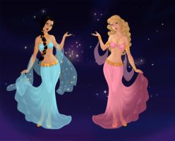 Jasmine And Aurora The Belly Dance Princesses by AnneMarie1986