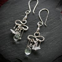 Silver Moonstone and Moss Agate Earrings by WrappedbyDesign