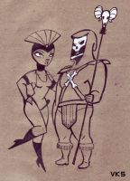 Skeletor and Evil Lyn by creepstown