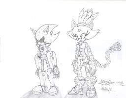 Metal Sonic and Blaze Sketches by Hotfeet444