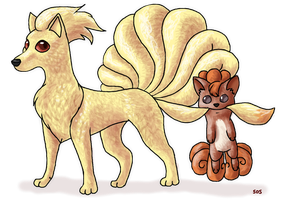 Ninetails and Vulpix by Starrypoke