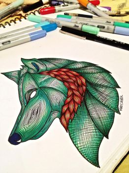 Emerald Wolf by mclairelxs