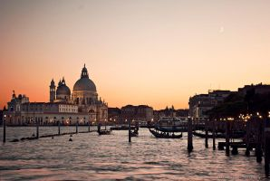 Sunset and moon over Venice by Black-Ban