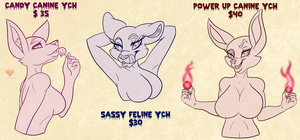 Sassy Females YCHs! by HoneyHeartStudios