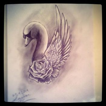 Swan tattoo design by Haukkahalla