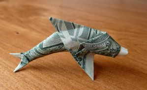 Dollar Origami Dolphin by craigfoldsfives