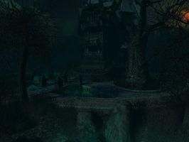Haunted house background 5 by indigodeep