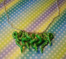 Green Tentacle Necklace Detail by CraftMagic