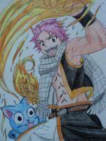 Natsu Dragneel and Happy by babydemoness