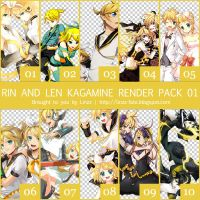 Rin and Len Kagamine Render Pack 01 by krisiyelle00