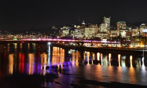 Portland at night by sixslow