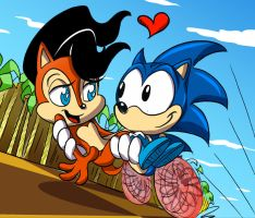 Sonic and Sally by FrijolesGirl