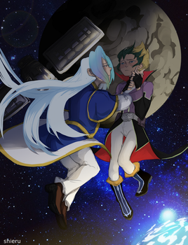 the moon and the satellite by xShieru